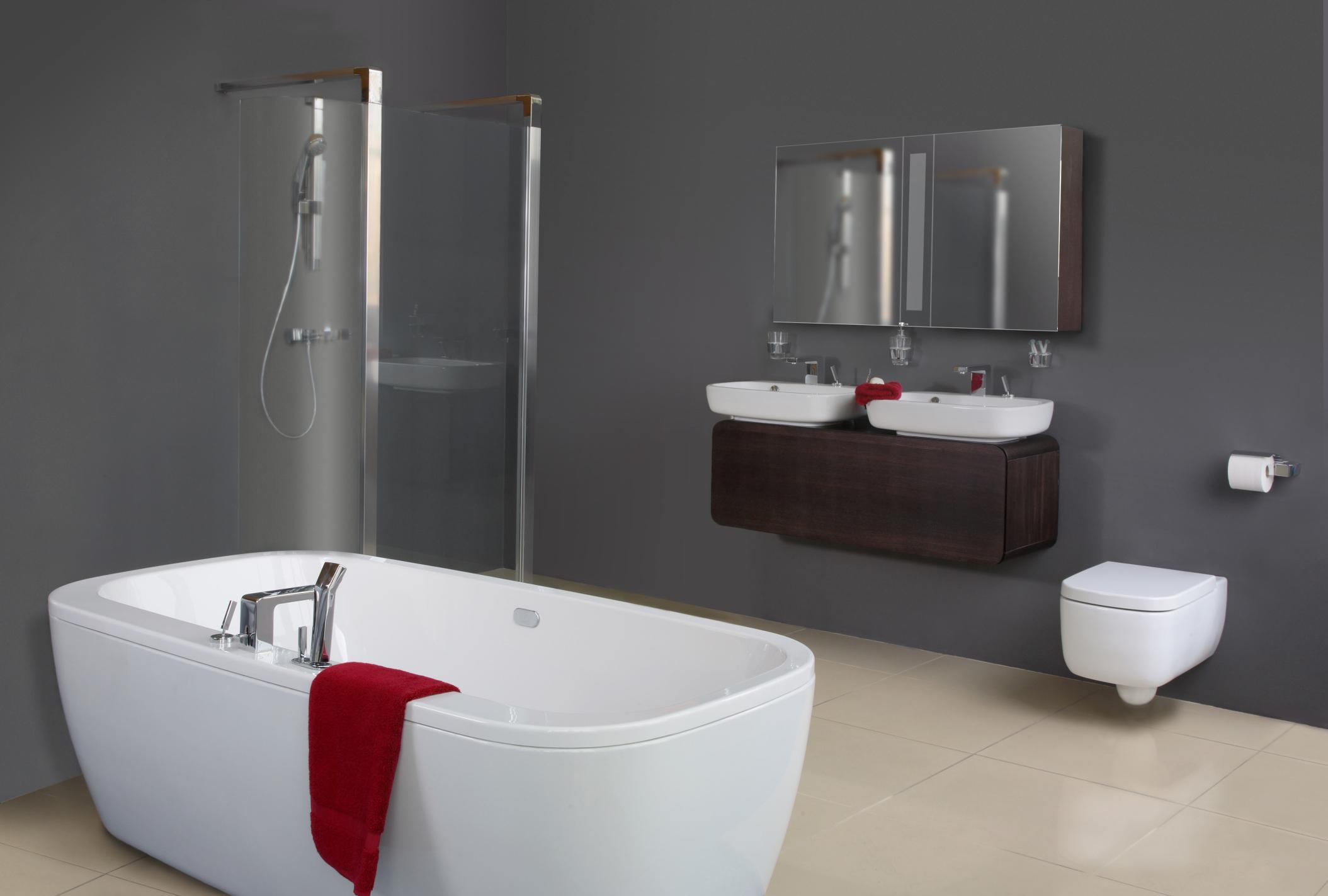 Muebles De Baño Estilo Minimalista:Grey Modern Bathroom Design
